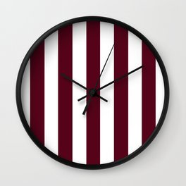 Dark scarlet purple - solid color - white vertical lines pattern Wall Clock
