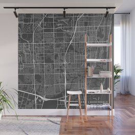 Fort Lauderdale Map, USA - Gray Wall Mural