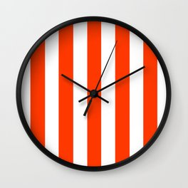 Coquelicot orange - solid color - white vertical lines pattern Wall Clock