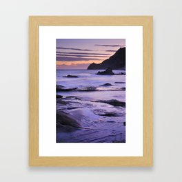 Vela blanca tower. Purple beach Framed Art Print