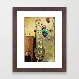 Whimsical Portland Oregon (Hot Air Balloon Ride) Framed Art Print
