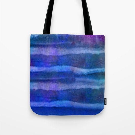 Blue abstract watercolor stripes Tote Bag