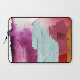 Desert Daydreams [3]: a colorful abstract mixed media piece in purple blue pinks and orange Laptop Sleeve