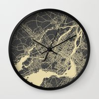 montreal Wall Clocks featuring Montreal Map by Map Map Maps
