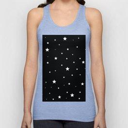Scattered Stars - white on black Unisex Tank Top