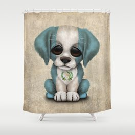 Cute Puppy Dog with flag of Guatemala Shower Curtain