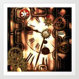 Steampunk, clocks and gears, vintage design Art Print
