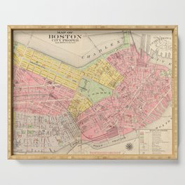 Vintage Map of Boston MA (1876) Serving Tray