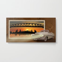 Classiccar With Skyline Metal Print