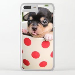 Chihuahua Puppy in a Teacup Clear iPhone Case