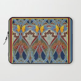 Grey-Burgundy Color & Yellow Art Nouveau Butterfly Design Laptop Sleeve