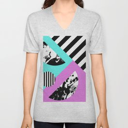 Stripes And Splats 2 - Random, Crazy, Abstract, Geometric, Black And White, Cyan, Pink Artwork Unisex V-Neck