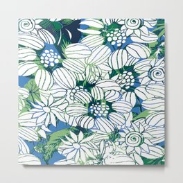 Whimsical Line Work Flowers Metal Print