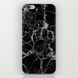 Black Marble with White Veining iPhone Skin