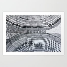 Streetart in Gray Concentric shapes Art Print
