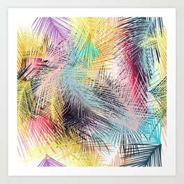 Jungle pampa colorful forest. Tropical fresh forest pattern with palms Art Print