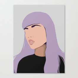 Harlow - portrait of a woman with purple hair Canvas Print