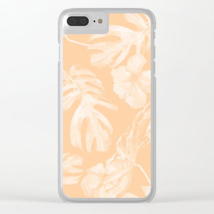 Island Vacation Hibiscus Palm Leaf Coral Mango Orange Clear iPhone Case