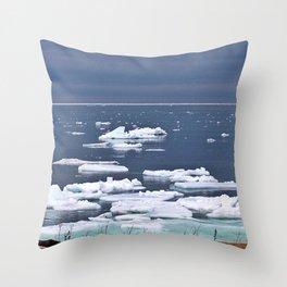 Icebergs on a Calm Sea Throw Pillow