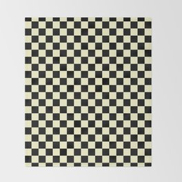 Black and Cream Yellow Checkerboard Throw Blanket