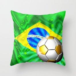 Brazil Flag Gold Green and Soccer Ball Throw Pillow
