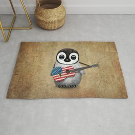 Baby Penguin Playing American Flag Acoustic Guitar Rug