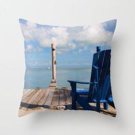 Blue Chair Islamorada Throw Pillow