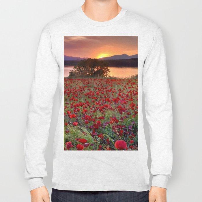 Sea of poppies at the lake Long Sleeve T-shirt