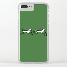 Dachshund for Life - Black / White / Green Clear iPhone Case