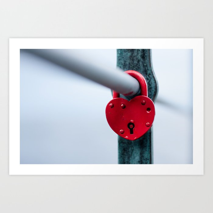Red Heart Lock Art Print