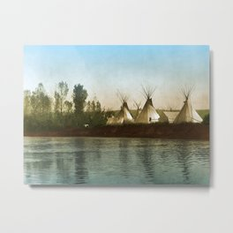Crow Indian Camp on the Rivers Edge Metal Print