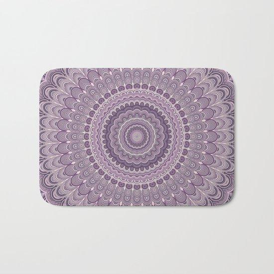 Purple feather mandala Bath Mat