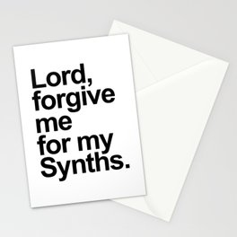 Lord forgive me for my synths. Dj gift. Retro electronic techno house music Stationery Cards