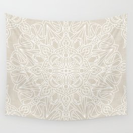 White Lace Mandala on Antique Ivory Linen Background Wall Tapestry