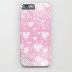 snowing hearts pink Slim Case iPhone 6s