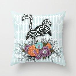 Flamingo Skeleton Halloween Composition Throw Pillow