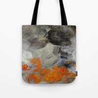 imagerybydianna Tote Bags featuring empty hurricane fires by Imagery by dianna
