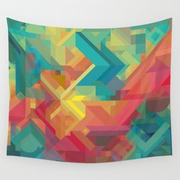 1990s Inspired Geometric Color Palette // VIBRANT ABSTRACT MULTI GRAPHIC Wall Tapestry