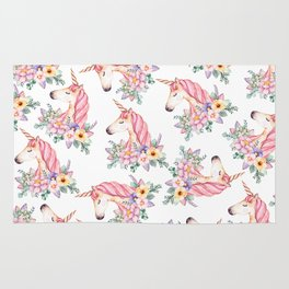 Pink lilac yellow green watercolor magical unicorn floral Rug