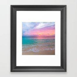 Aerial Photography Beautiful: Turquoise Sunset Relaxing, Peaceful, Coastal Seashore Framed Art Print