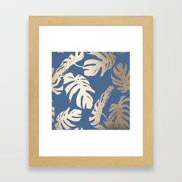 Simply Tropical Palm Leaves White Gold Sands on Aegean Blue Framed Art Print