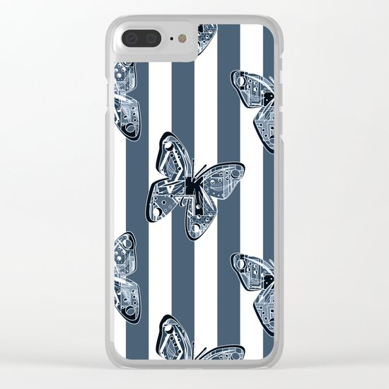 Blue butterflies on a striped background . Clear iPhone Case