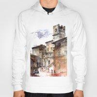 italy Hoodies featuring Cortona, Italy by zawij