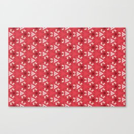 White Christmas Flowers Pattern, Red Christmas Flowers Pattern Canvas Print