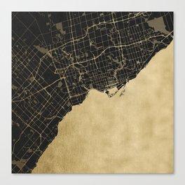 Toronto Gold and Black Street Map Canvas Print