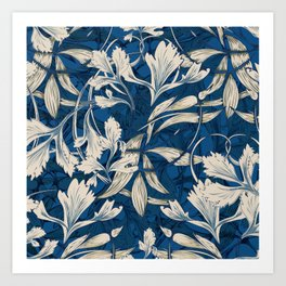 Celery - Classic Blue Art Nouveau Art Print