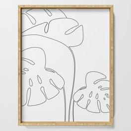 Monstera plant leafs line art Art black and white Serving Tray