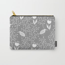 Kiwi Garden - Light Gray and White Carry-All Pouch