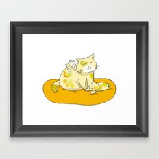 Mother Cat and Kittens Framed Art Print