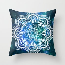 Mandala : Blue Green Galaxy Throw Pillow